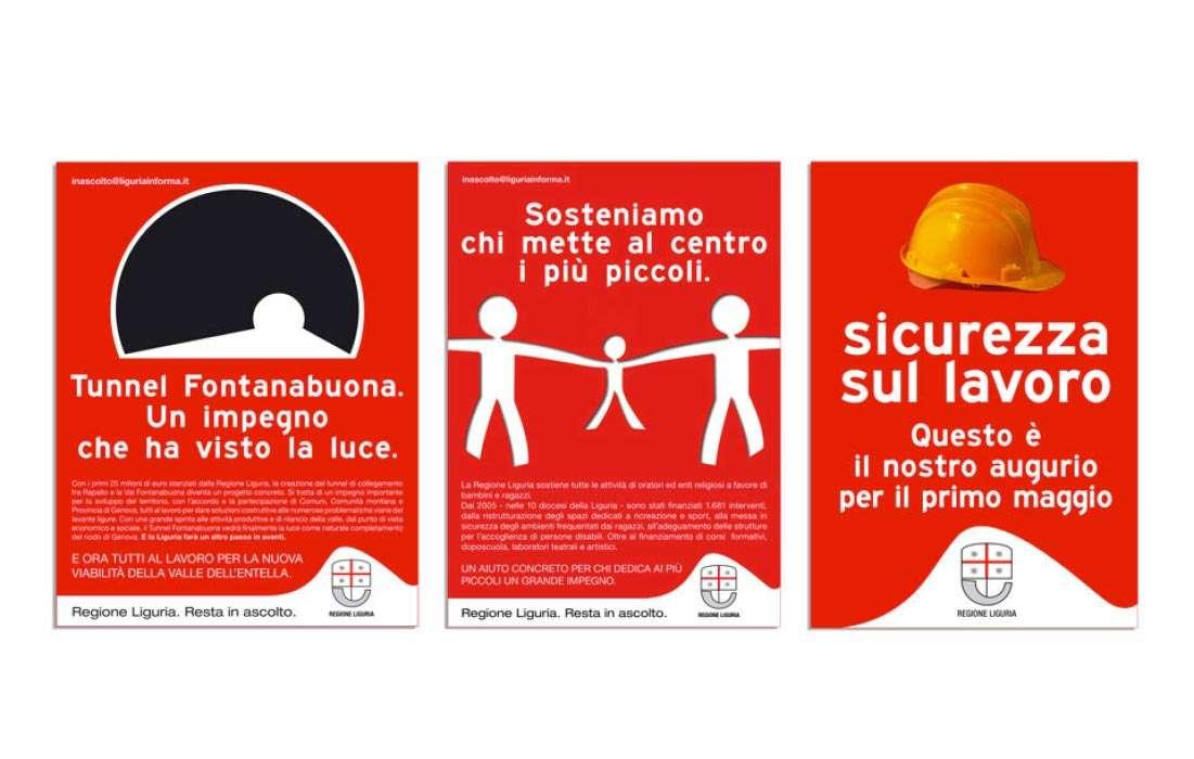 Materiali di comunicazione Regione Liguria